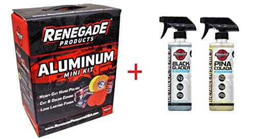 Renegade  MK-Alum+Black Glacier+Pina Colada   Aluminum Polishing Complete Mini Kit with Buffing Wheels, Buffing Compounds, Safety Flange, and Rebel Pro Red Polish (Black Glacier/Pina Colada, 1) (Kit)