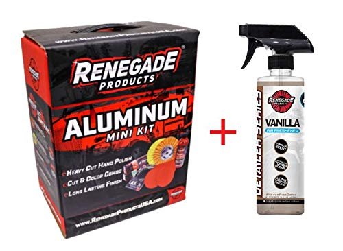 Renegade MK-ALum+Hawaii Breeze X2  Aluminum Polishing Complete Mini Kit with Buffing Wheels, Buffing Compounds, Safety Flange, and Rebel Pro Red Polish (Hawaii Breeze, 2) (Kit)