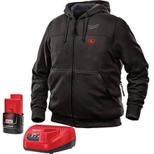 Load image into Gallery viewer, Milwaukee Hoodie M12 12V Lithium-Ion Heated Jacket KIT Front and Back Heat Zones -All Sizes and Colors - Battery and Charger Included - ( Black) X-Large