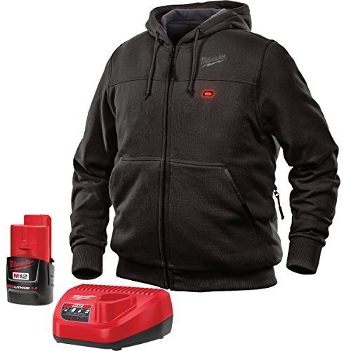 Milwaukee Hoodie M12 12V Lithium-Ion Heated Jacket KIT Front and Back Heat Zones -All Sizes and Colors - Battery and Charger Included - ( Black) X-Large