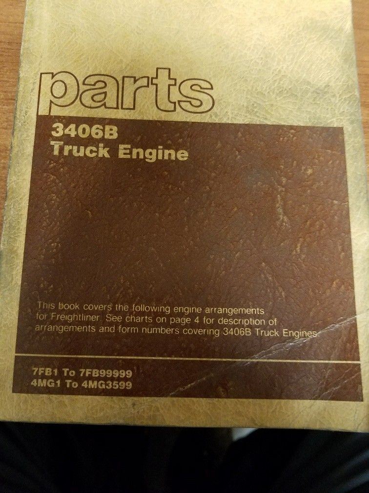 Cat 3406B Truck Engine Parts Manual Pre-Owned 7FB /4MG Freightliner Paccar Ford