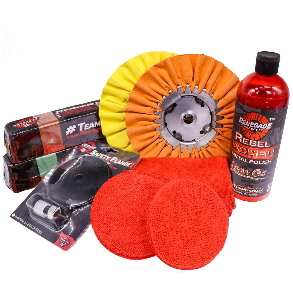 Renegade  MK-Alum+Vanilla+Pine  	 Renegade Products USA Aluminum Polishing Complete Mini Kit with Buffing Wheels, Buffing Compounds, Safety Flange, and Rebel Pro Red Polish (Vanilla/Pine, 1)…