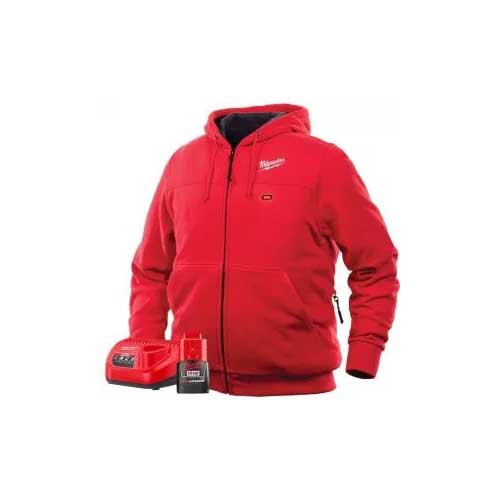 Milwaukee Hoodie M12 12V Lithium-Ion Heated Jacket KIT Front and Back Heat Zones -All Sizes and Colors - Battery and Charger Included - ( Red) X-Large