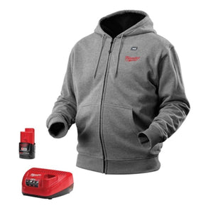 Milwaukee Hoodie M12 12V Lithium-Ion Heated Jacket KIT Front and Back Heat Zones -All Sizes and Colors - Battery and Charger Included - ( Gray) Small