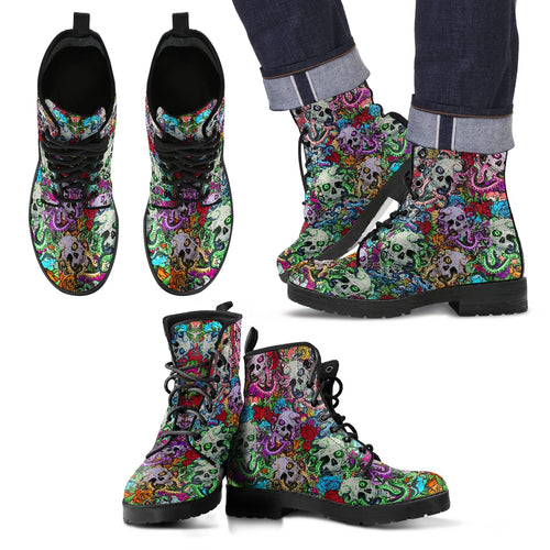 Skull Men's Leather Boots - Fathom Urban Tees