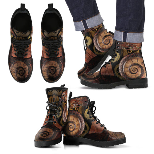 Spiral Clock Men's Leather Boots - Black - Fathom Urban Tees