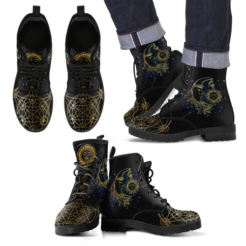Sun & Moon Men's Leather Boots - Fathom Urban Tees
