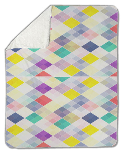 Blanket, Repeating geometric tiles with colored rhombus - Fathom Urban Tees