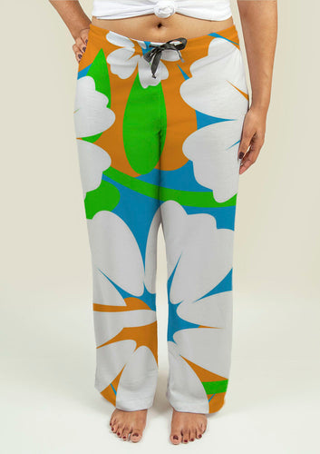 Ladies Pajama Pants with Hibiscus Flowers - Fathom Urban Tees