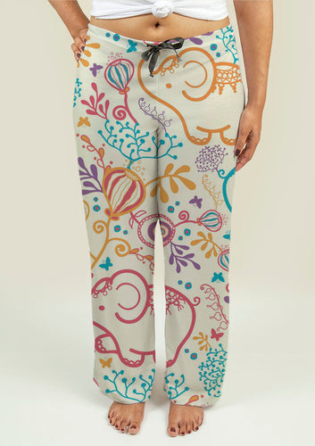 Ladies Pajama Pants with Elephants - Fathom Urban Tees
