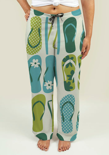 Ladies Pajama Pants with Flip Flops - Fathom Urban Tees