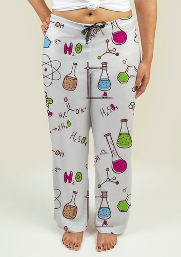 Ladies Pajama Pants with Chemistry Pattern - Fathom Urban Tees
