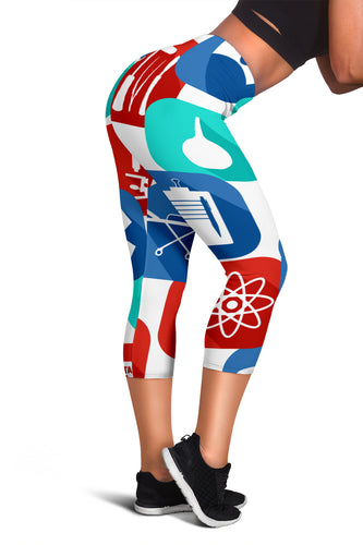 Nurse Medical Pattern Capris Leggings - Fathom Urban Tees