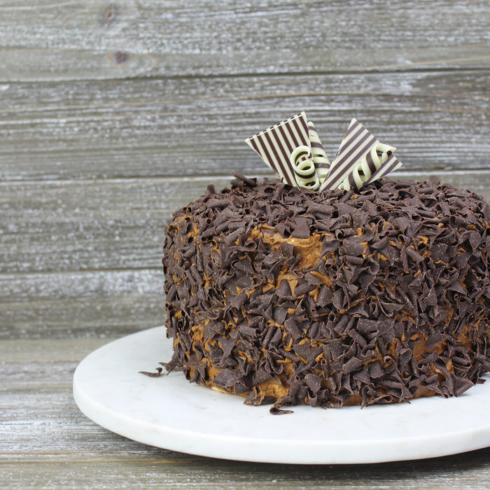 Chocolate Cake with Dark Chocolate Toppings and Dark and White Chocolate Decorations