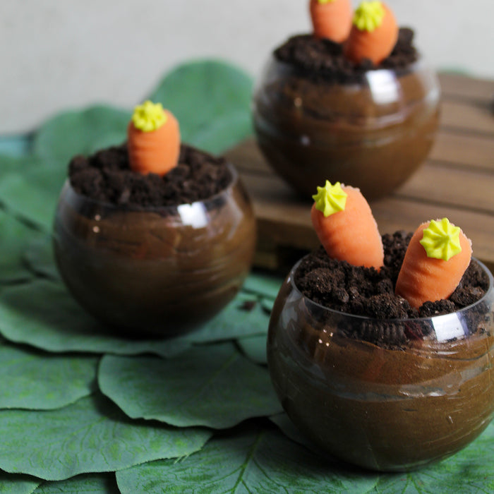 Chocolate Mousse Parfait with Cookie Crumble and Marzipan Carrot Decoration
