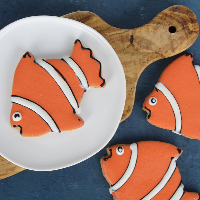 Clown Fish Shaped and Decorated Cookies