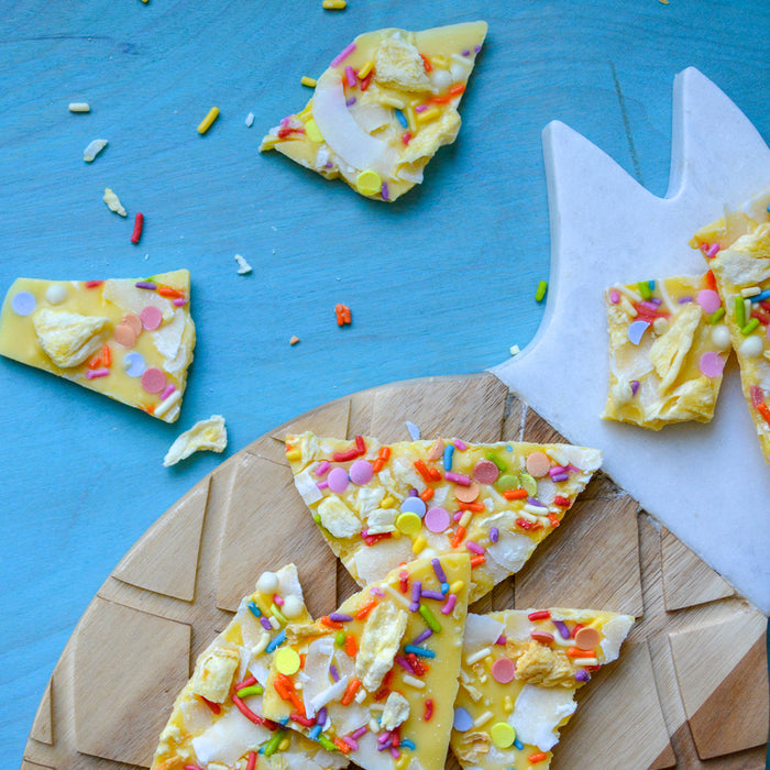 Pineapple Flavored White Chocolate Coating with Rainbow Sprinkes and Confetti