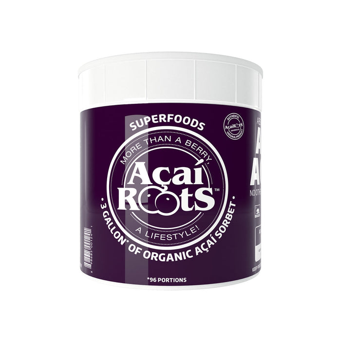 acai roots 3 gallon of organic acai sorbet container