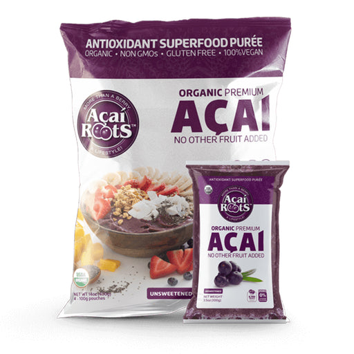 Acai Roots superfood puree large format packaging