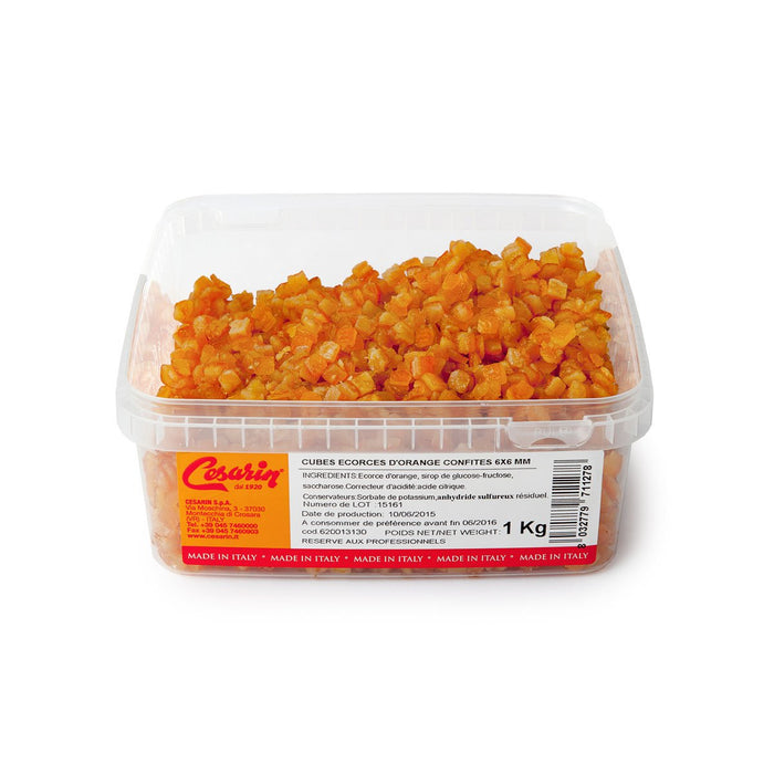 Candied Orange Peel Cubes in plastic box