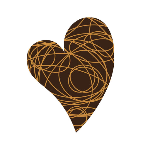 Scribble Heart Chocolate Decor detail