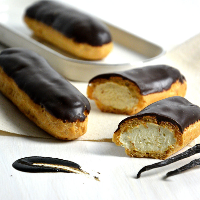 Frozen Vanilla Eclairs Topped with Chocolate
