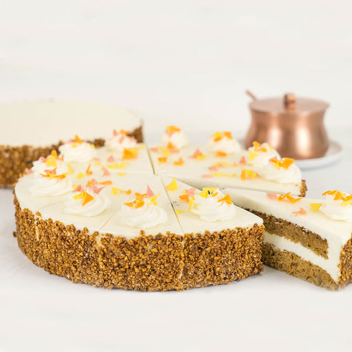 "10"" carrot cake styled photo"