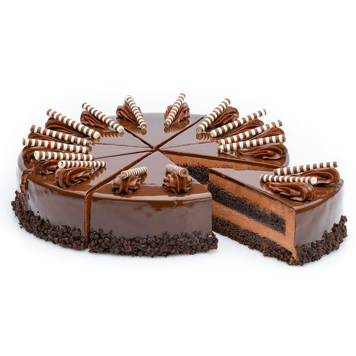 "10"" chocolate marquise cake, full cake with slices"