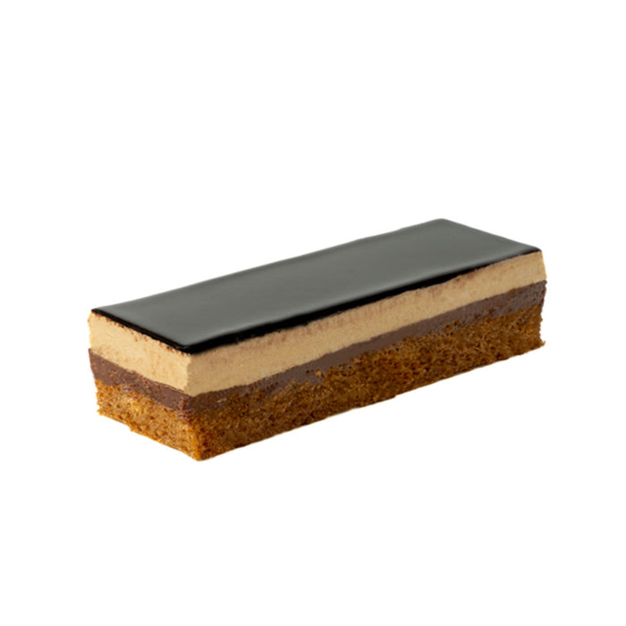 Opera half sheet cake and slices with chocolate decor