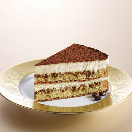 slice of tiramisu cake on plate