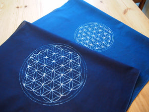 aizome Bandana/Furoshiki with Scared geometry design (Shipping from Australia)