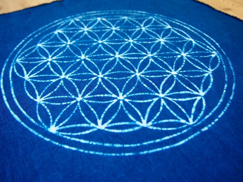 NEW aizome handkerchief/place mat with large Size of Sacred geometry design