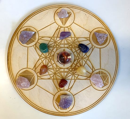 Sacred geometry Crystal grid wood mat and mini coaster神聖幾何学グリッドマット(crystals not included)