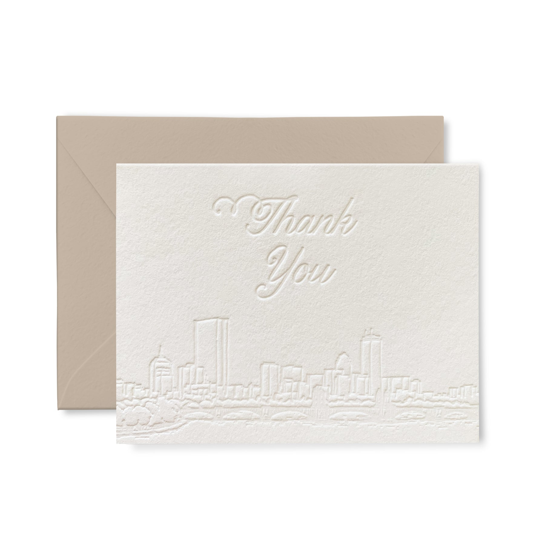 Boston Skyline - Thank you - Letterpress card pack