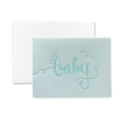 Blue Sweet Baby Letterpress Card