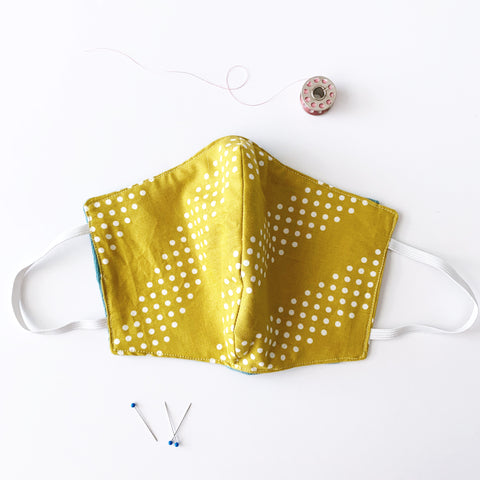 Chartreuse Dots Cotton Mask