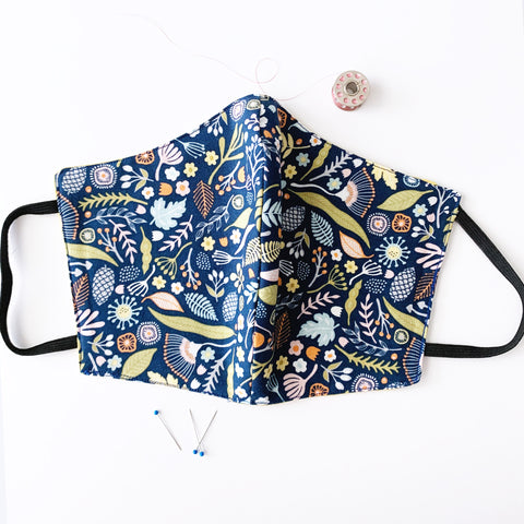 Navy Floral Cotton Mask