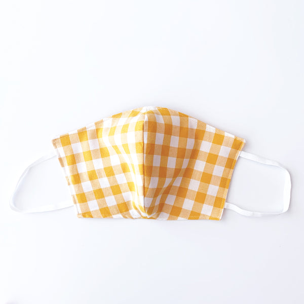 Yellow Gingham Cotton Mask