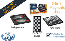Load image into Gallery viewer, Game 3-in-1 Checkers Chess and Backgammon