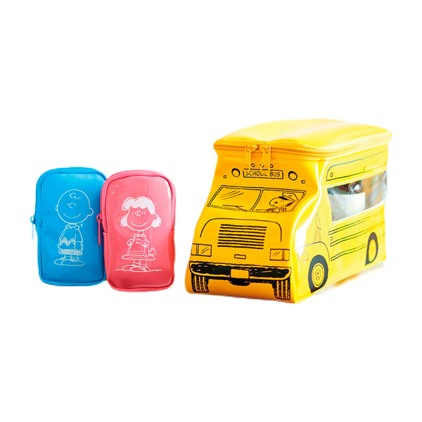 Peanuts - Set de 3 Neceseres Estuches de Snoopy School Bus
