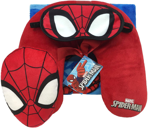 mononoperu,Marvel - Set 3 Piezas Almohada Manta Polar Tapaojos Spiderman,Disney,.