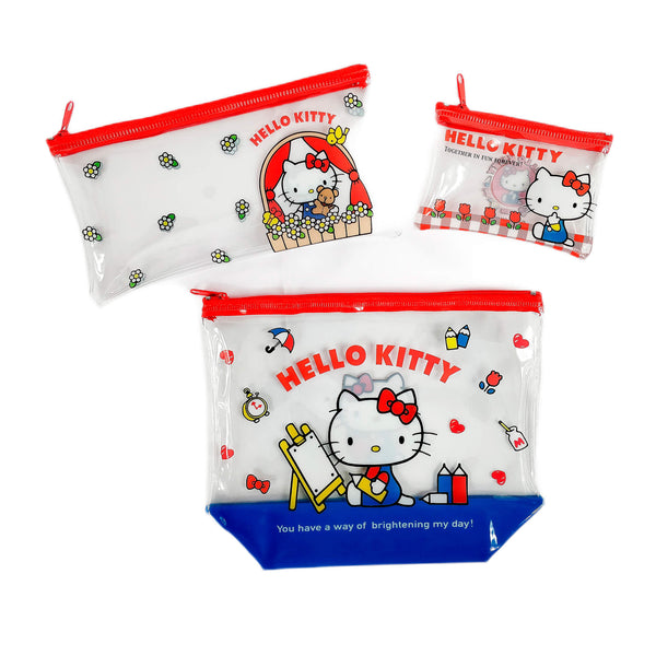 Sanrio - Pack de Neceser Cartuchera y Monedero Vinil Hello Kitty
