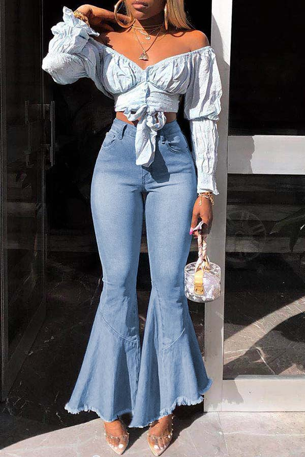 High-Waist Bell Bottoms Jeans