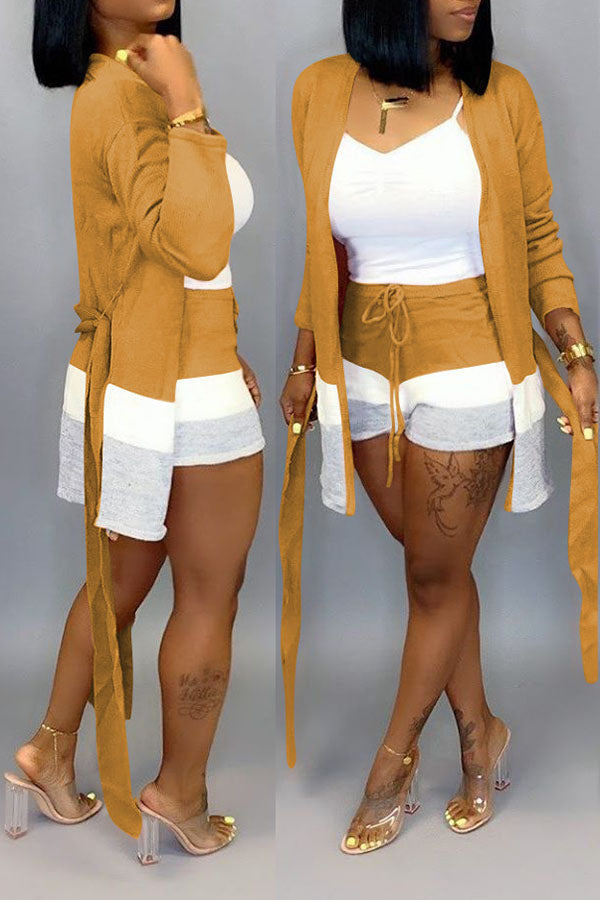 Color Collision Lace-Up Cardigan Shorts Two-Piece Suit