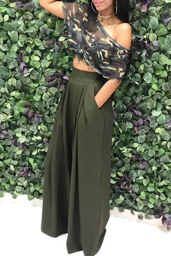 Solid Color Pocket Wide Leg Pants