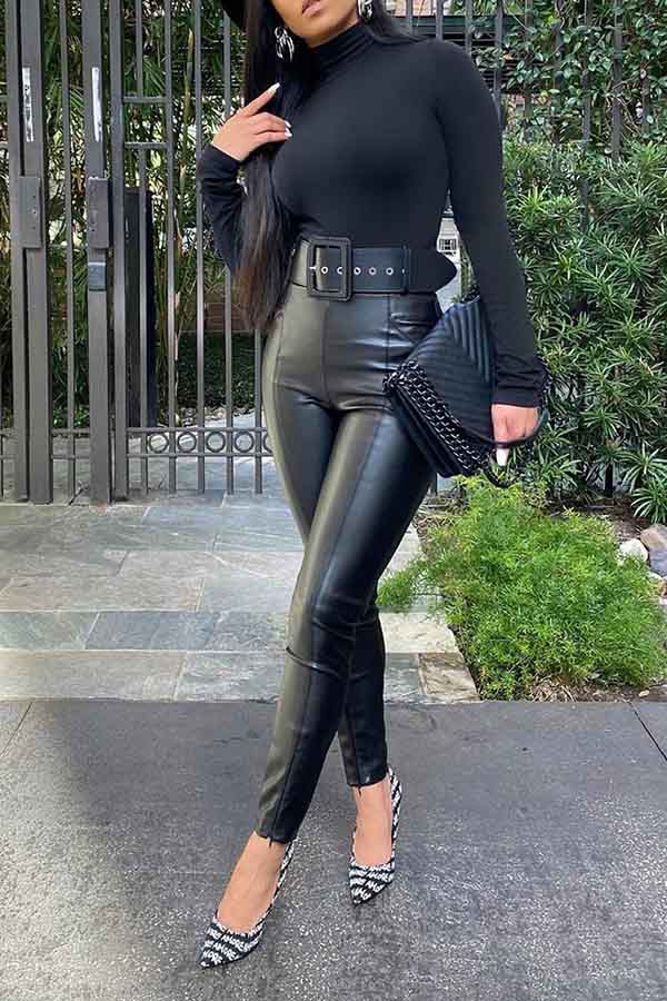 High Waist Biker Leather Pants