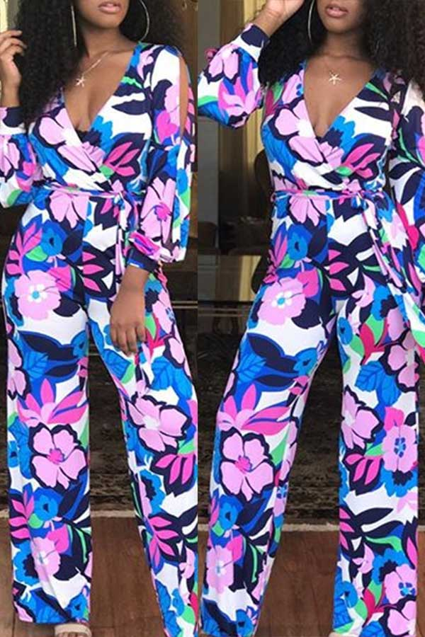 Casual Printed Color Jumpsuit