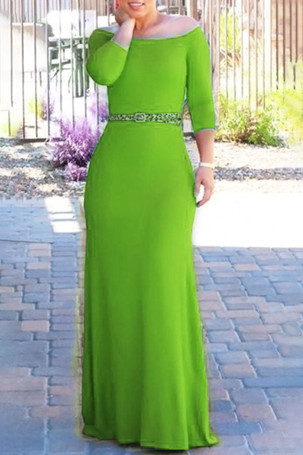 Off-the-shoulder Cropped Sleeve High-waist Long Dress