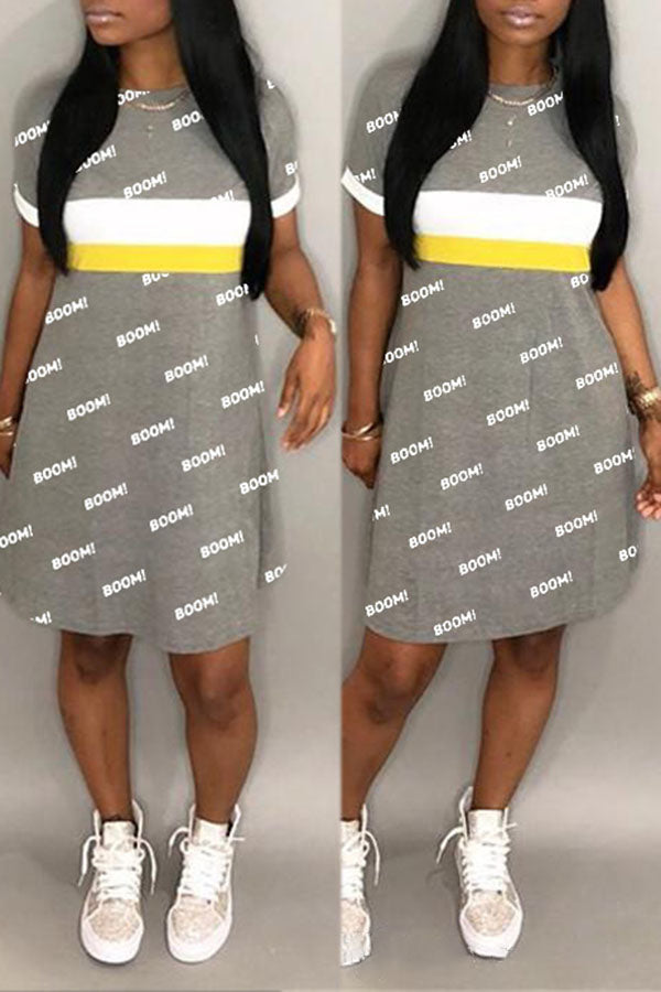 Alphabet Print Color Block Dress