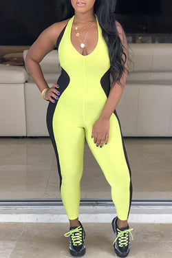 Color Collision Sport Casual Jumpsuit